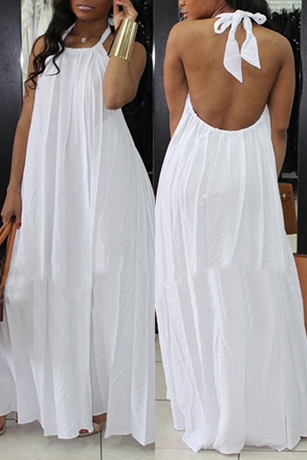 lovelywholesale / Lovely Fashion Halter Neck Backless White Chiffon Floor Length Dress