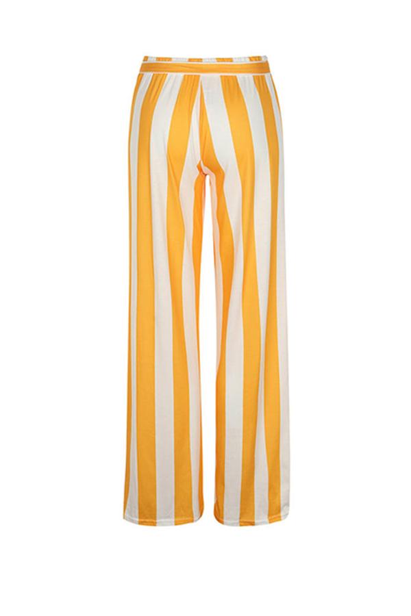LovelyFashion High Waist Striped Yellow Polyester Pants