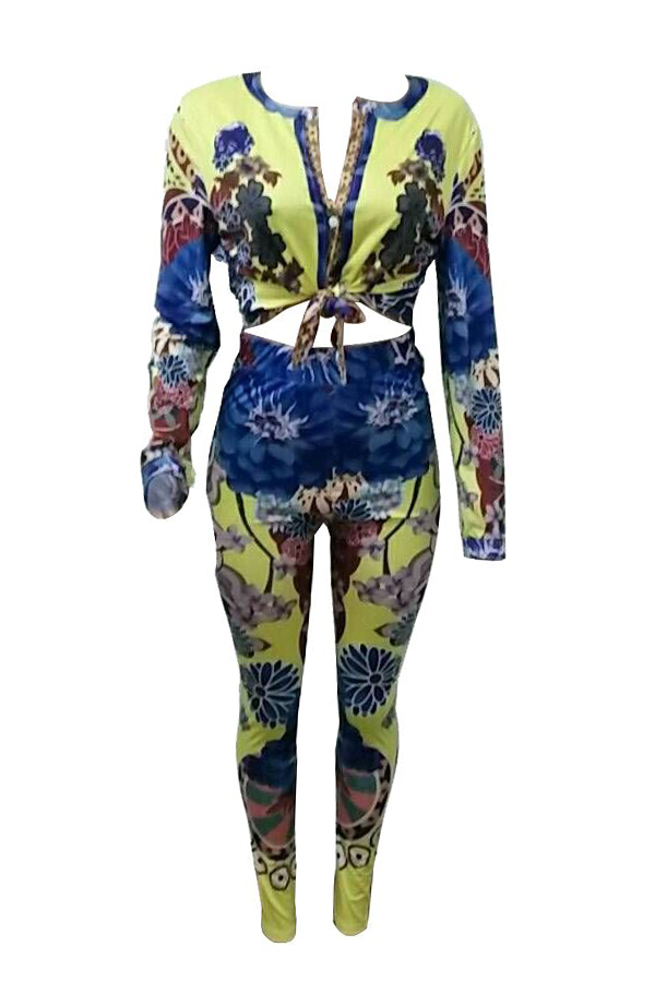 LovelyTrendy Round Neck Printed Polyester Two-piece Pants Set