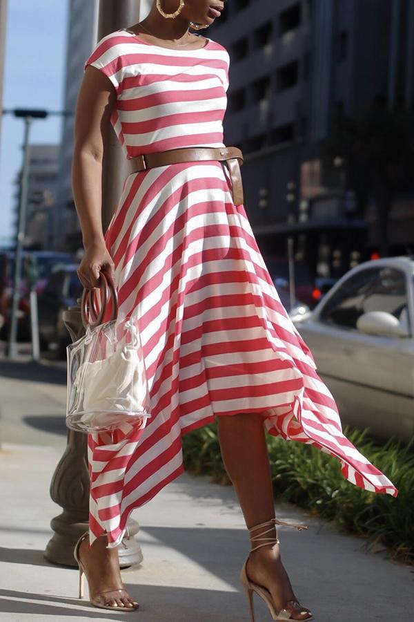 Lovely Cotton Blends Fashion Regular sleeve Short Sleeve O Neck Ankle Length Asymmetrical Dresses