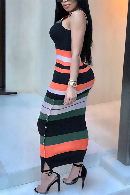 Lovely Casual U Neck Colorful Striped Twilled Satin Ankle Length Dress