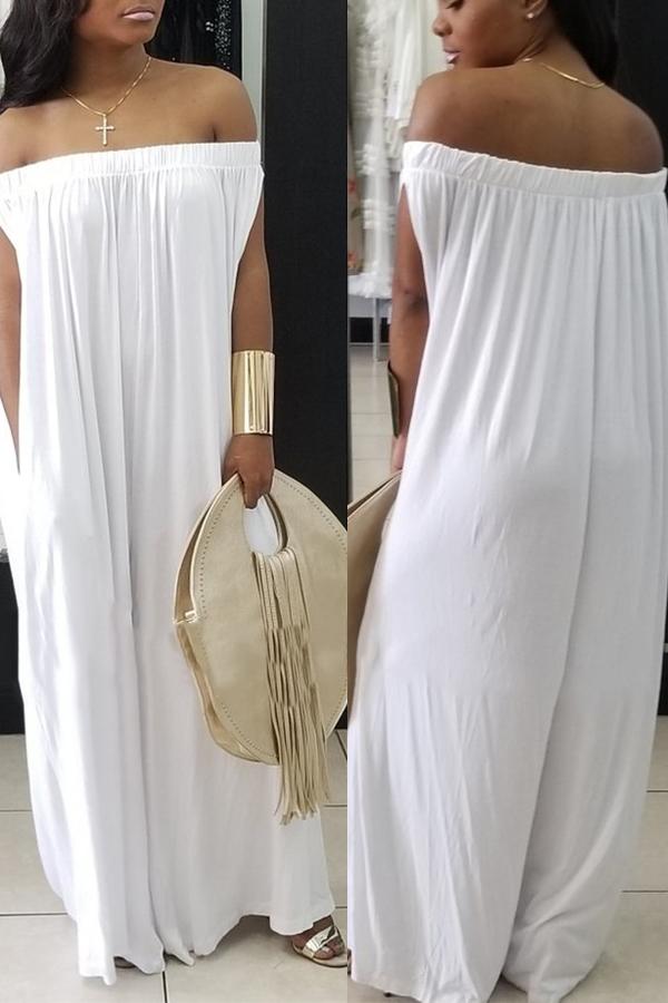 LovelyCasual Dew Shoulder White Cotton Blends One-piece Jumpsuit
