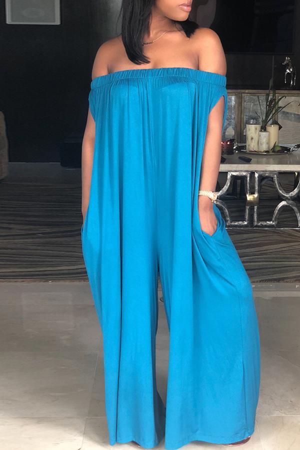 Lovely Casual Dew Shoulder Blue Cotton Blends One-piece Jumpsuit