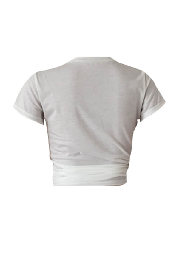 Lovely Casual Round Neck Cartoon Printed White Polyester T-shirt
