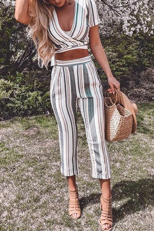 Lovely Casual V Neck Striped Blending Two-piece Pants Set