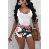 Lovely Fashion Printed Green Polyester Shorts