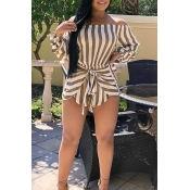 Lovely Polyester Striped Regular Jumpsuits
