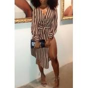 LovelyFashion V Neck Striped Side Slit Brown Cotton Mid Calf Dress(With Belt)