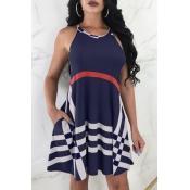 Lovely Fashion Round Neck Striped Deep Blue Milk Fiber Knee Length Dress