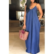 Lovely Fashion V Neck Deep Blue Denim Floor Length