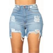 LovelyDenim Solid Zipper Fly High Regular Shorts
