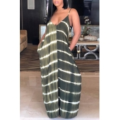 Lovely Casual V Neck Striped Black Green Blending Floor Length Dress