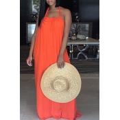 Lovely Leisure Halter Neck Backless Orange Polyester Floor Length Dress