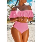 LovelyPretty Bateau Neck Flounce Pink Polyester Two-piece Swimwears