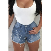 Lovely Fashion High Waist Nailed Pearl Blue Denim
