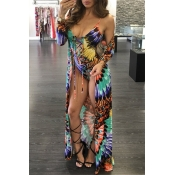 Lovely Fashion V Neck Floral Printed Green Polyester One-piece Swimwears(With Cover-Ups)