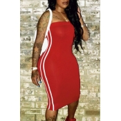 Lovely Sexy Bateau Neck Striped Red Milk Fiber Sheath Mid Calf Dress