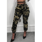 LovelyCasual High Waist Camouflage Printed Army Green Cotton Pants