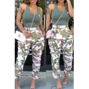 LovelyCasual Mid Waist Camouflage Printed Pink Cotton Pants