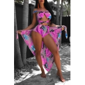 Lovely Fashion Bandage Printing Red Polyester Two-piece Swimwears(With Cover-Ups)