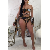 Lovely Sexy Printed Hollow-out Black Polyester Three-piece Swimwear
