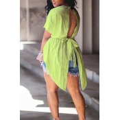 Lovely Trendy Round Neck Irregular Design Drawstring Light Green Cotton Shirts