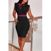 Lovely Fashion Round Neck Ruffle Design Black Blending Sheath Knee Length Dress