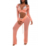 Lovely Sexy Hooded Collar See-Through Drawstring Pink Polyester Two-Piece Pants Set(Without Subcoating)