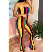 Lovely Polyester Sexy Striped Sleeveless Bateau Neck Pants Two Pieces