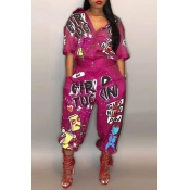 Lovely Euramerican Cartoon Printing Rose Red Polyester One-piece Jumpsuit