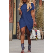 LovelyCasual Round Neck Irregular Blue Polyester Mini Dress