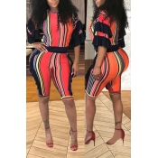 LovelyFashion Striped Printed Red Polyester Two-pi