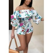 Lovely Trendy Bateau Neck Floral Printed White Qmilch One-piece Short Jumpsuits