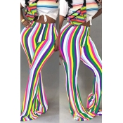 LovelyTrendy Hight Waist Colorful Striped White Po
