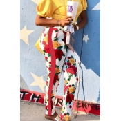 Lovely Fashion Mid Waist Floral Printed Red Polyes