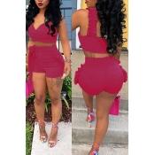 LovelyCharming Falbala Design Rose Red Cotton Blends  Two-piece Short Set
