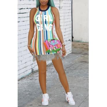 LovelyStylish Round Neck Tassel Design Polyester Mini Dress