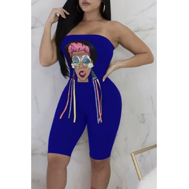 Lovely Casual Bateau Neck Characters Printed Royalblue Polyester One-piece Short Jumpsuits