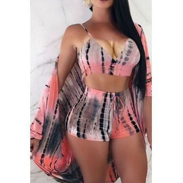 Lovely Casual V Neck Printing Pink Polyester Two-piece Shorts Set(With Coat)