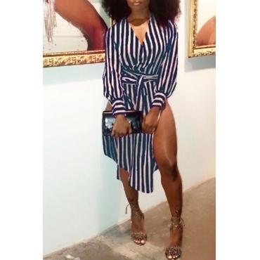 Lovely Fashion V Neck Striped Side Slit Blue Cotton Mid Calf Dress(With Belt)