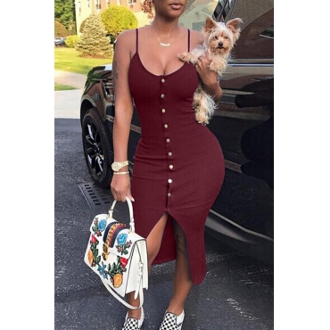 Lovely Sexy V Neck Single-breasted Design Wine Red Polyester Sheath Mid Calf Dress