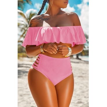 Lovely Pretty Bateau Neck Flounce Pink Two-piece Swimwear