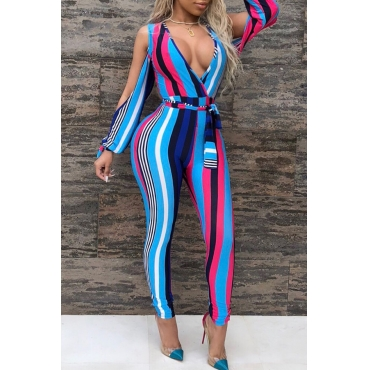 Lovely Trendy V Neck Striped Blue Polyester One-piece Jumpsuits(With Belt)