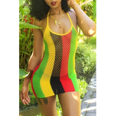 Lovely Sexy U neck Hollow-out Colorful Striped Polyester Sheath Mini Dress