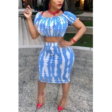 Lovely Sexy Printed Blue Polyester Two-piece Skirt Set