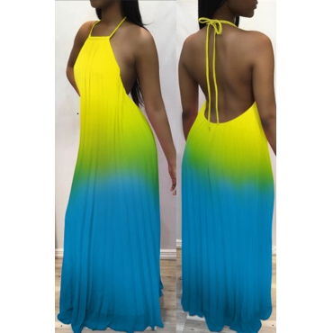 Lovely Fashion Spaghetti Strap Sleeveless Gradient Ramp Yellow Polyester Floor Length Dress