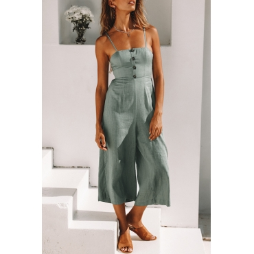 Lovely Casual Dew Shoulder Buttons Light Green Cotton Blends One-piece Jumpsuits
