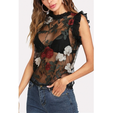Lovely Casual Round Neck See-Through Embroidered Floral Black Blending Shirts(Without Subcoating)