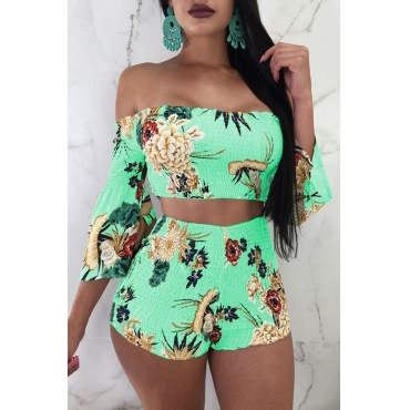 LovelyEuramerican Printed Green Elastic Fabric Two-piece Shorts Set