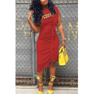 LovelyCasual Round Neck Letters Printed Ruffle Red Cotton Knee Length Dress
